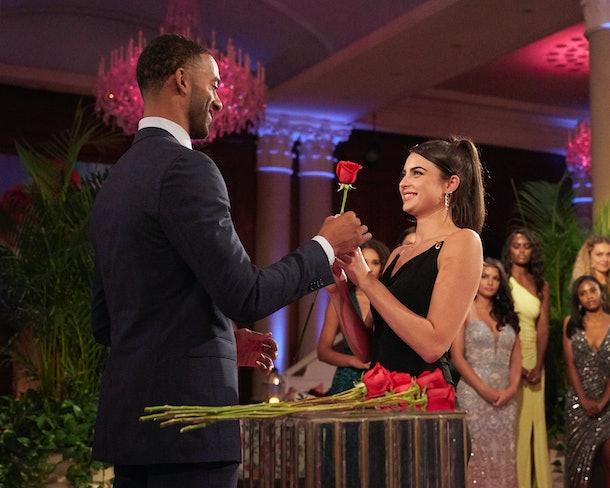 Matt James give Rachael Kirkconnell a rose on 'The Bachelor'