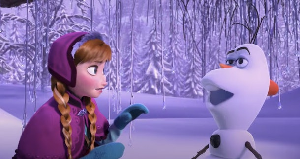 Anna and Olaf from 'Frozen' meet for the first time in the snow.