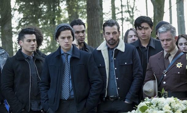Jughead wore his beanie to Midge's funeral in 'Riverdale' Season 2.