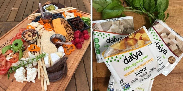 Cheese board with a variety of cheese, chocolate, and veggies and Daiya non-dairy vegan cheese