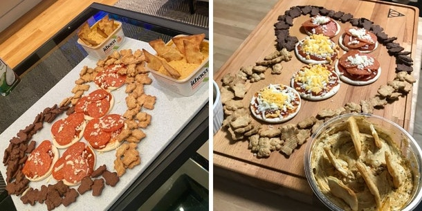 Matt James' charcuterie board made up of Lunchables, Teddy Grahams, and hummus
