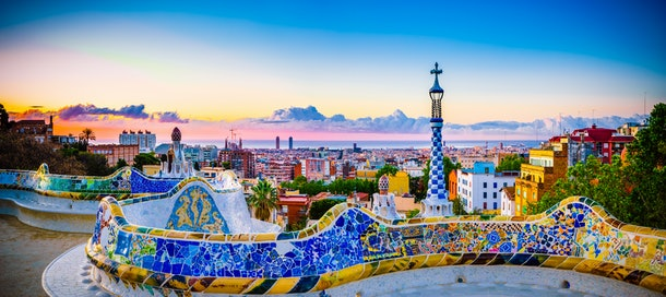 Barcelona at sunrise viewed from park Guell, Spain