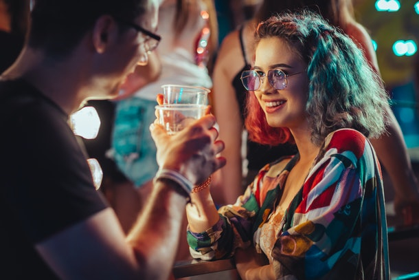 Celebratory toast at music festival