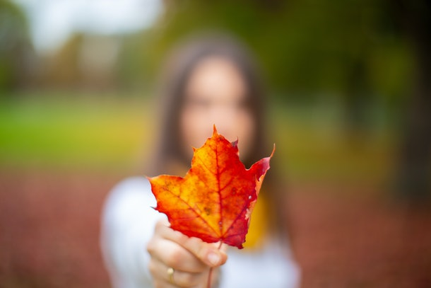 Young Woman smiling beautifully in a park with autumn leaves. Autumn season. Autumn background.