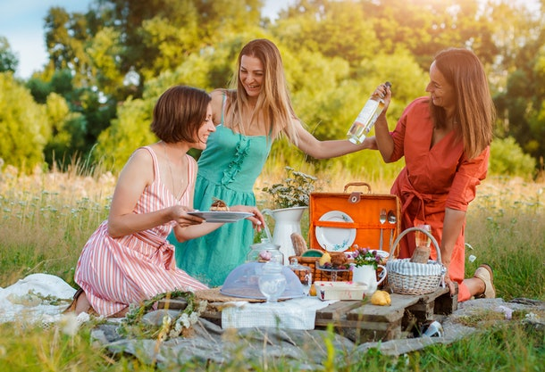 three Beautiful young girlfriend girls women on a picnic in the summer fun to celebrate and drink wine. The concept of leisure, travel, friendship, tourism