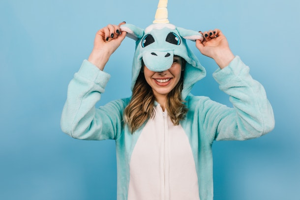 This girl's blue unicorn onesie is a perfect Halloween costume idea.