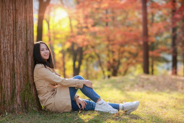 Young Girl in Autumn at Park Nami island South Korea