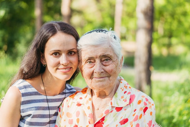 Grandmother and granddaughter. Grandmother and granddaughter are walking in the park