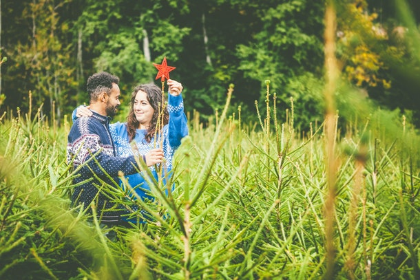 A couple looks at each other and puts a star on top of a Christmas tree in a Christmas tree field.