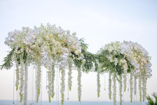 Beautiful wedding ceremony set-up outdoors.
