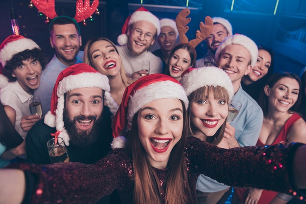 Self-portrait of nice attractive lovely cheerful cheery positive excited glad funny ladies and guys having fun enjoying rest relax occasion at luxury fogged nightclub indoors