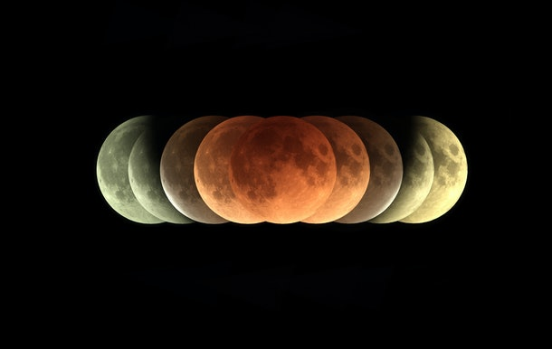 Time series of total Lunar eclipse on 31 January 2018 as it appeared as supermoon at perigee and also a blue Moon as a second full moon of January 2018
