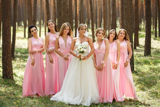 Group portrait of bride and bridesmaids. Stylish wedding in pink color. Marriage concept