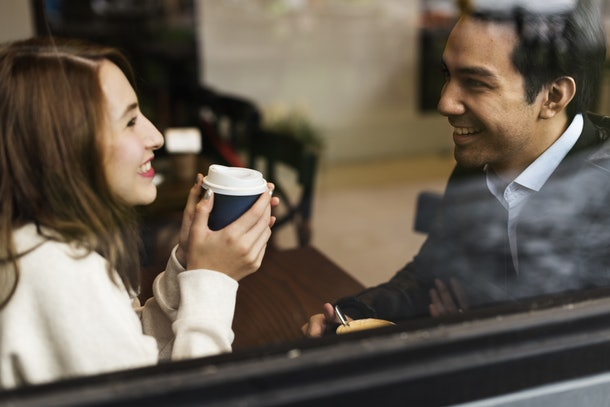 Couple Drinking Coffee Shop Relax