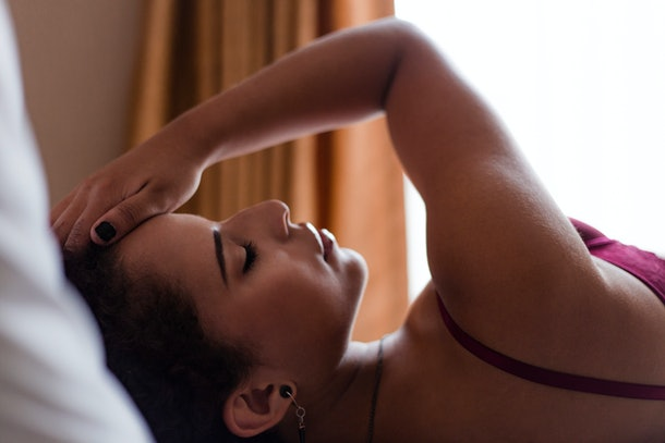 Art boudoir female shooting indoor, fashion photo of beautiful