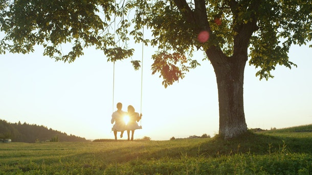 LENS FLARE SILHOUETTE: Young couple in love swaying on tree swing at golden summer sunset. Happy man and woman swinging under tree in sunny evening. Boyfriend and girlfriend hugging on romantic date.