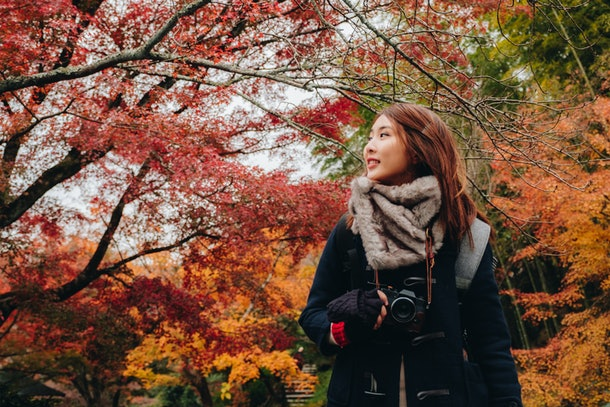 Outdoors lifestyle fashion portrait of pretty young woman on the autumn park in Enkoji Temple, Kyoto, Japan. Autumn season japan.