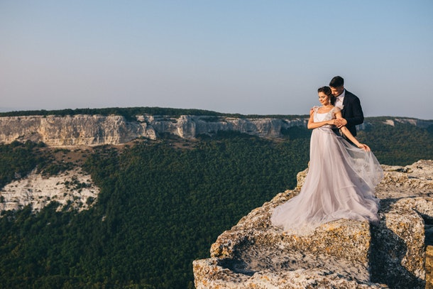 Wedding in the mountains Mangup in Crimea