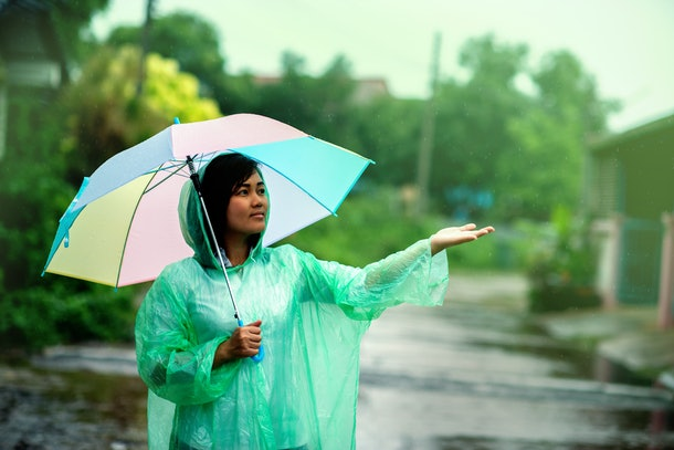 Portrait of beautiful young woman walking with umbrella under rain,raincoat