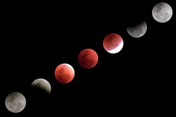 Super blue blood moon timeline collection. Captured in Bangkok composed of several photos depicting  the lunar eclipse from the first full moon to blood moon until full moon again.