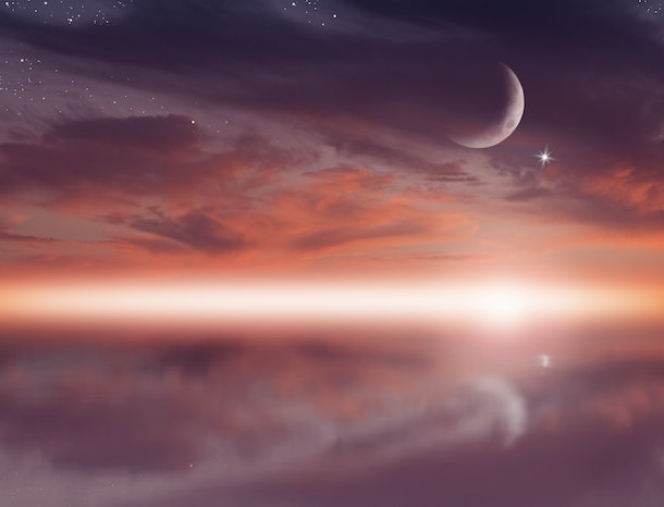 Ramadan dusk photo. Beautiful religious background with crescent, stars and glowing clouds.