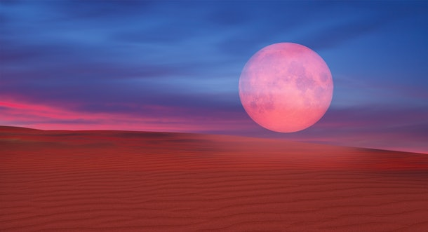 "Lunar eclipse over the desert ""Elements of this image furnished by NASA """