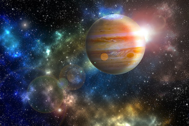"""jupiter planet in the colorful starry universe """"Elements of this image furnished by NASA"""""""