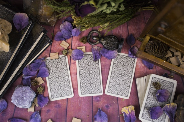 Tarot cards, magic, witchcraft, old books