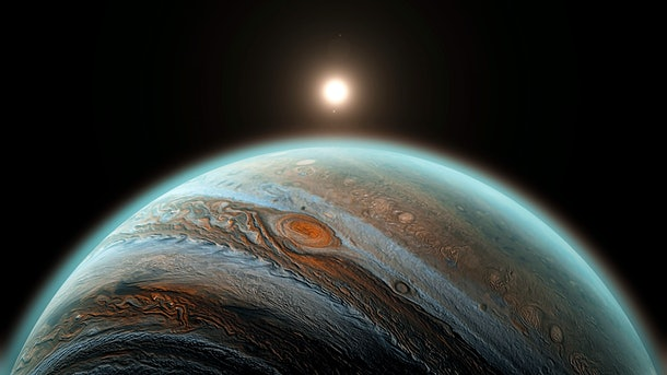 Jupiter planet with rising sun in space, close up shot. Sun is behind of universe's, solar system's giant, beautiful planet Jupiter with shadow 3D illustration.