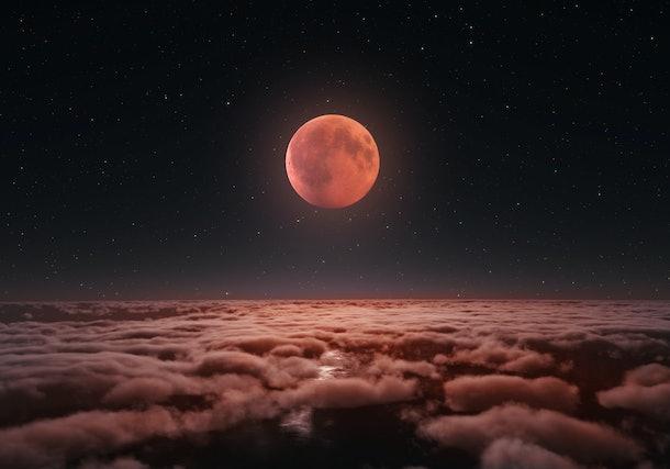 Longest total Lunar eclipse, blood moon over the clouds 2018. Digital illustration