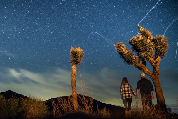 A couple stargazes in Joshua Tree National Park, while holding hands.