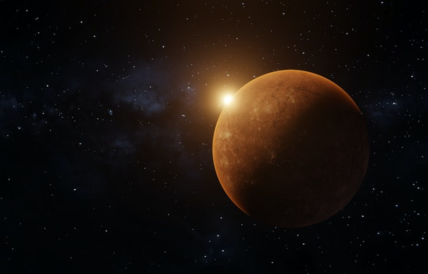 3D rendering of a sunrise seen from space over a red planet, like Mars, with Milkyway in the background